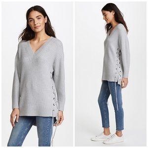 rag & bone   Merino Wool Lace Up Sweater